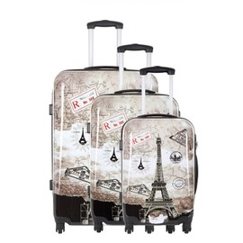 Travel One Set De 3 Valises - Crosby - Taille S+M+L - Syst�me 360 + Roues Silencieuses - Ultra Light - Grande Contenance