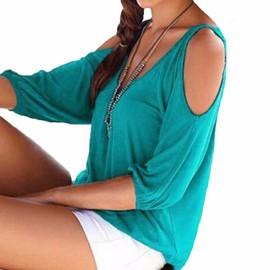 T-Shirt Top D�bardeur Sexy Femmes Haut Plage �t� Col V �paule Nu