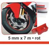 Bandes D�co Wheel-Stripes Pour Les Jantes Du Motocycle Rouge, 5 Mm X 7 M