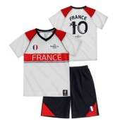 Ensemble Short Et Maillot De Foot France Uefa Euro 2016 Officiel Blanc Taille De 4 � 10 Ans