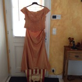 Robe De Soir�e Shirley Ensemble Bustier Encolure Bateau Satin 44 Orange