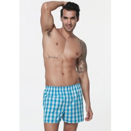 Eozy Shorty Boxer Homme En Coton Sous-V�tement Carreaux Cale�on Confort Mode