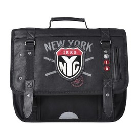 Cartable Ikks New-York Boy Anthracite 2 Compartiments 38cm