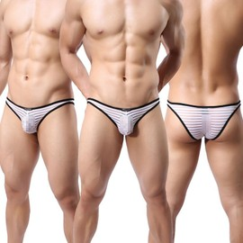 Slip Sexy Cale�ons Pour Hommes Ray�s,Transparent Sous-V�tements Bikinis 6 Couleurs