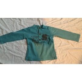 T-Shirt Tape � L 'oeil Manche Longue 12 Mois Turquoise