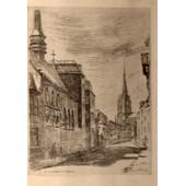 Gravure Sous Verre De Daniel Derveaux -1932- Representant La Rue De Tournai � Tourcoing - Nord -