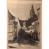 Gravure Sous Verre De Daniel Derveaux 1932 Representant La Rue De La Cloche A Tourcoing