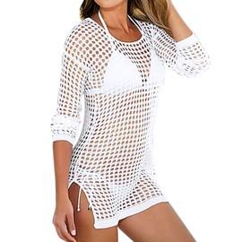Vktech Femme Sexy Bikini Cover Up T-Shirt Blouse En Crochet �charpe De Plage Ajour�