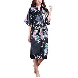 Peignoir Robe Chambre Kimono Femme Sexy Dentelle Satin Nuisette Lingerie