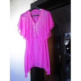 Tunique Sexy Ou Robe Mi-Longue Style Bollywood, Rose Fuschia Transparente, Taille 38 Ou 40