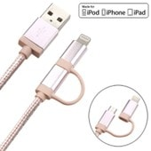 2en1 C�ble 1,2m Micro Usb M�le + Adaptateur Lightning 8-Pin M�le Pour Iphone 6s Plus/6s/6/5c/5s/Se Ipad Mini/Air/Pro Ipod Touch 5/6 Samsung Galaxy Note 4/S6/S7 Edge Sony Xperia Htc Lg Huawei, Or Rose