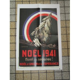 Affiche Reproduction Noel 1941 Seconde Guerre Mondiale 48.5 X 32 Cm