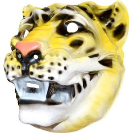 4 Masques Tigre Pvc Adulte 3d - 29 X 23 Cm