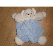 Peluche Doudou Gros Ours Boule Gm Teddy Bear Orso Kaloo Plume Bleu Patapouf Beige 27 Cm +/-