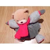 Doudou Peluche Ours Teddy Bear B�r Orso Hiver Polaire Kaloo Gris �charpe Rouge Boule 16 Cm +/-