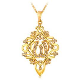 Collier Pendentif-Motif Allah Musulman-Forme Losagne-Serte De Cristaux-18k Or Jaune Plaqu�-Maille Ancre-Bijoux Pour Femme