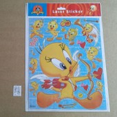 Grande Planche De Stickers Autocollants Tweety Titi Looney Tunes Coeurs Amour Fl�ches Format 20x25cm