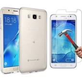 Galaxy J7 2016 Coque Tpu Gel Et Vitre En Verre Tremp� Transparent