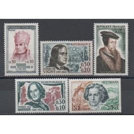 France: Lot de 5 timbres neufs sur des personnages célèbres, émis en 1963 et 1964, N° 1372, 1375, 1382, 420 er 1421.