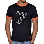 T-Shirt Mc Col Rond Emporio Armani Ea7 273813 Slim Fit Coton Noir-Orange