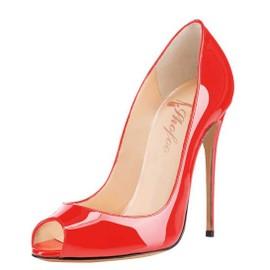 Chaussures Femmes, Escarpins En Cuir Verni Avec Bouts Ouvert Et Talons Aiguilles,A Enfiler Shofoo.