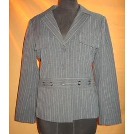 Veste Courte Polyester 42 Gris Fines Rayures