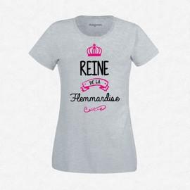 T-Shirt Femme Gris Reine De La Flemmardise