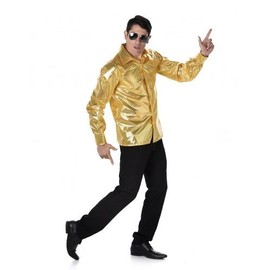 Chemise Disco � Sequins Dor�s Homme, Taille Large
