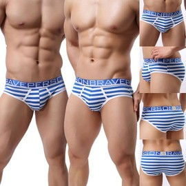 Slip Coton Striped Cale�on Hommes,Confortable Sous-V�tements Bikinis,4 Couleurs