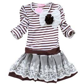 Vktech� B�b� Fille Girl Robe De Princesse En Dentelle & Coton En Rayures Sweet Douce Pour Soir�e C�r�monie