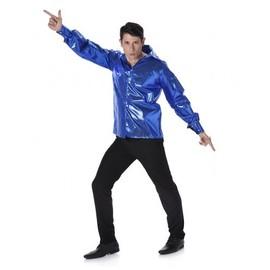 Chemise Disco � Sequins Bleus Homme, Taille Medium
