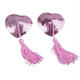 Accessoires Coquins: Nipple Covers Cache Tetons Forme Coeur Sequins Roses