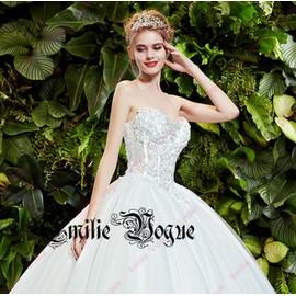 Robe De Mari�e/Mariage �l�gante Bustier D�cor� Des Perles Et Strasses En Tulle Et Satin Dos Nu Avec De Lacets De Dentelle Grande Taille Emilie Mariage