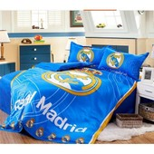 Parure De Lit Football Real Madrid Club De F�tbol Pour 2 Personnes Coton 200*230cm 4 Pieces
