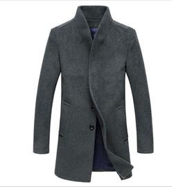 Manteau En Laine Hommes Mode Veste Col Montant Chic Pardessus Simple Boutonnage