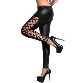 Legging Vinyl Ouvert La�ages C�t� Tregging Pantalon Moulant Skinny Sexy Leggings Bas
