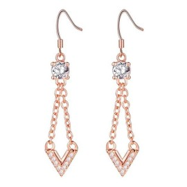Ysf� Femmes 18k Rose Or Plaqu� Longue V Pendentif Boucles D'oreilles Blanc Crystal V Lettre Pendentif Boucles D'oreilles 2016 New Bijoux