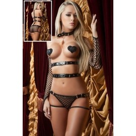 Lingerie Vinyl Sexy Body Ouvert + Mitaines + Nippies Coeur Tenue Grosse R�sille