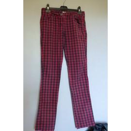 Pantalon A Carreaux Pimkie Rouge Et Noir