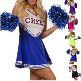 Costume Cheerleader - Uniforme Pom Pom Girl Taille Medium - M Couleur Noir