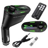 Kit de voiture Lecteur MP3 sans fil transmetteur FM USB SD MMC LCD avec t�l�commande Lumi�re verte