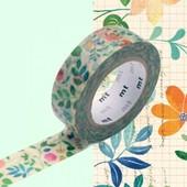 Rouleau 15mm X 10m Motif Fleurs Sur Papier / Watercolor Flower - Masking Tape
