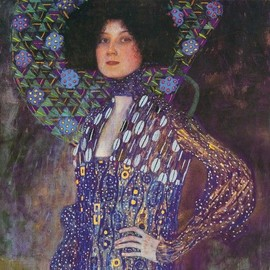 Gustav Klimt Poster Reproduction Sur Toile, Tendue Sur Ch�ssis - Emilie Fl�ge, 1902 (70x70 Cm)