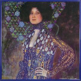 Poster Reproduction Encadr�: Gustav Klimt - Emilie Fl�ge, 1902 (40x40 Cm), Cadre Plastique, Bleu