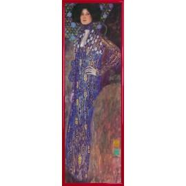Poster Reproduction Encadr�: Gustav Klimt - Emilie Fl�ge, 1902 (91x30 Cm), Cadre Plastique, Rouge