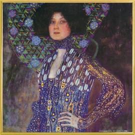 Poster Reproduction Encadr�: Gustav Klimt - Emilie Fl�ge, 1902 (40x40 Cm), Cadre Plastique, Or