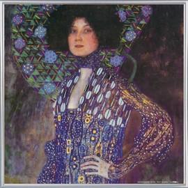 Poster Reproduction Encadr�: Gustav Klimt - Emilie Fl�ge, 1902 (40x40 Cm), Cadre Plastique, Argent