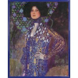 Poster Reproduction Encadr�: Gustav Klimt - Emilie Fl�ge, 1902 (50x40 Cm), Cadre Plastique, Bleu