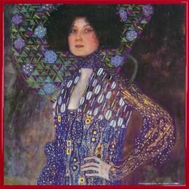 Poster Reproduction Encadr�: Gustav Klimt - Emilie Fl�ge, 1902 (40x40 Cm), Cadre Plastique, Rouge
