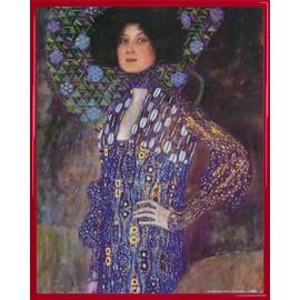 Poster Reproduction Encadr�: Gustav Klimt - Emilie Fl�ge, 1902 (50x40 Cm), Cadre Plastique, Rouge